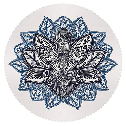 iPrint Beautiful Round Tablecloth [ Lotus,Ethnic Paisley Petals