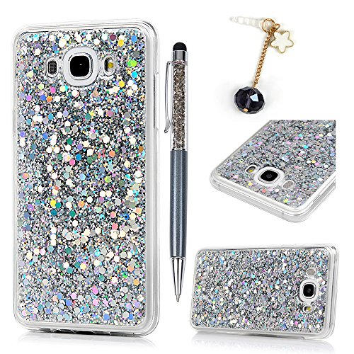 Frame Transparent Silver (Galaxy J7 2016 Case, Ultra-Thin Lightweight Soft Flexible TPU Frame Glitter Back Bling Glitter Powder Transparent Clear Full Body Protective Cover for Samsung Galaxy J7 (2016) - Silver)