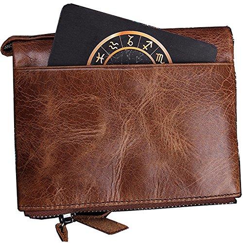 Crédit Double Minimaliste Zippée Sumferkyh Noir D Homme couleur Vachette Vintage Portefeuille Pour Marron De Avec Cuir Poche Carte En w6Bqwz
