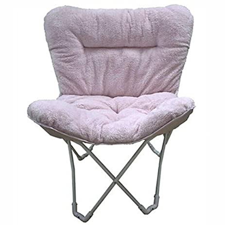 Folding Plush Butterfly Chair, Padded Design Features, Soft Durable Tufted  Fabric Upholstery, Lightweight