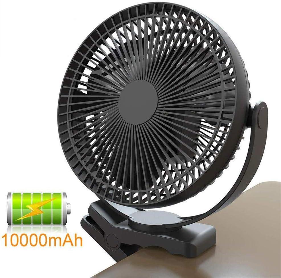 Ventilador USB con clip, funciona con pilas, ventilador recargable ...