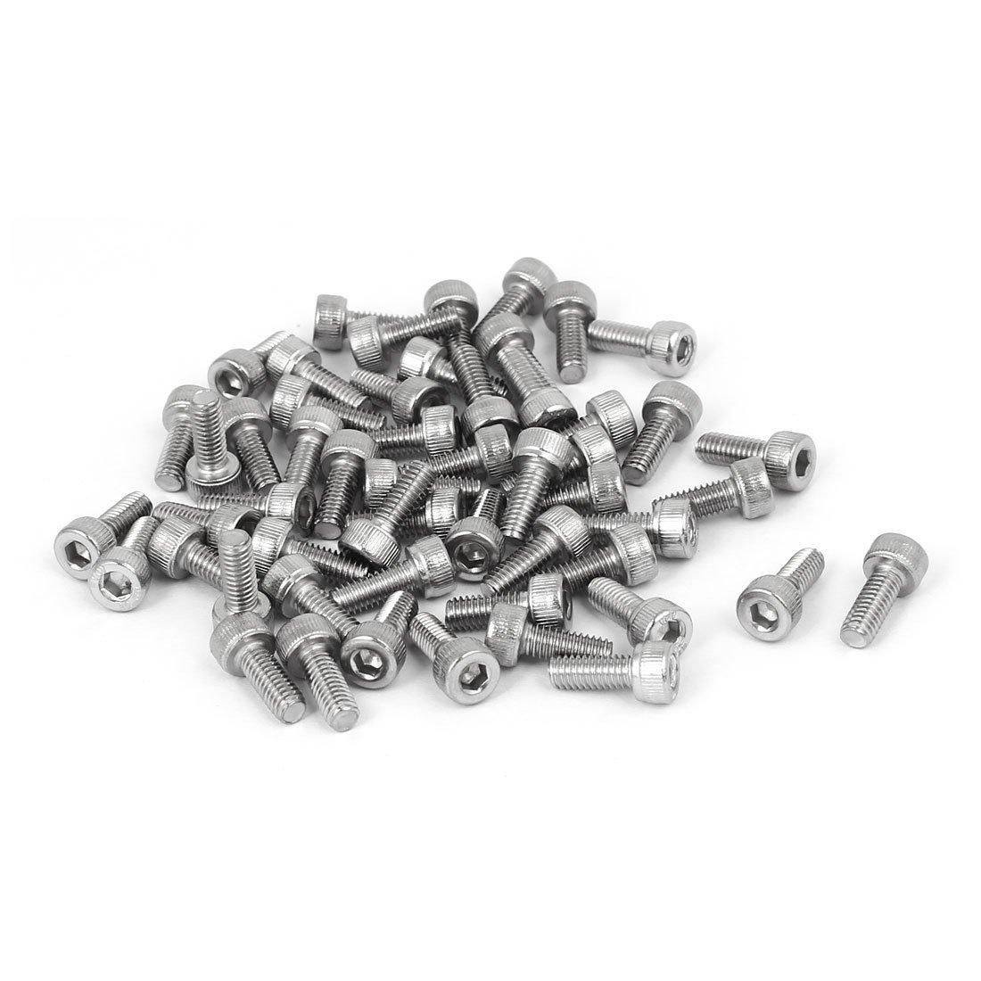 M4x10mm Filetage 304 Vis /à t/ête cylindrique six pans creux en acier inoxydable DIN912 55pcs