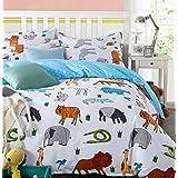 LELVA Cartoon Bedding Set Animal Print Duvet Cover Set Kids Bedding for Girls and Boys Children's Bedding (Twin, Flat Sheet Set)