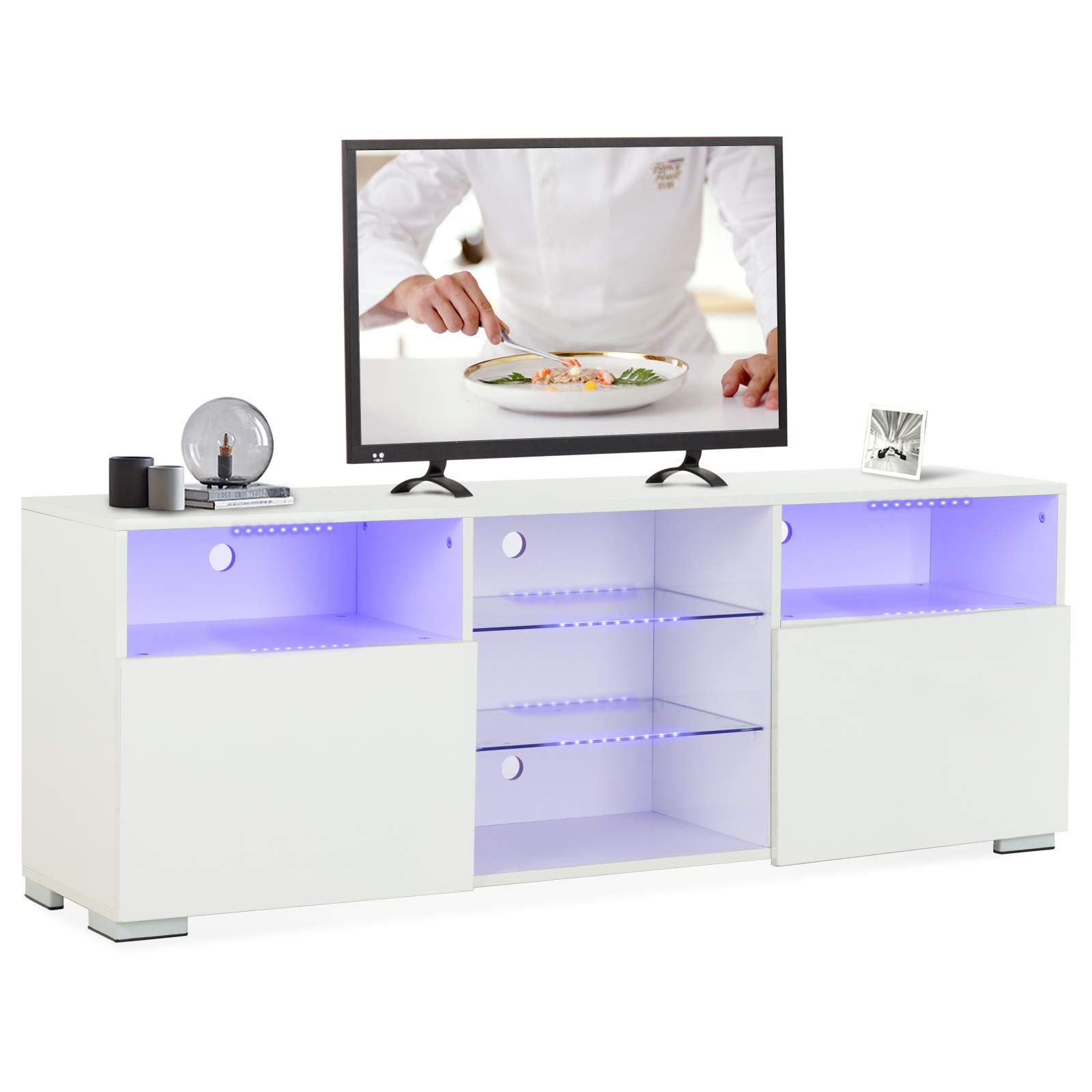 Mecor White TV Stand w/Lights Modern LED TV Stand w/Remote Control High Gloss Media Console for 60 Inch TV Entertainment Center with 3 Layers, 2 Doors and Open Shelf