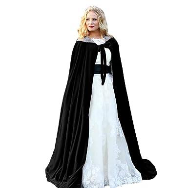 1ed8fc75e1 Burgundy Womens Wraps Elegant Velvet Hooded Wedding Cloak Winter Long Cape  (Black