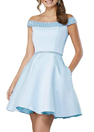 FTBY Womens Off The Shoulder Short Homecoming Dresses Prom Dresses Beaded Gown 206 Blue-2