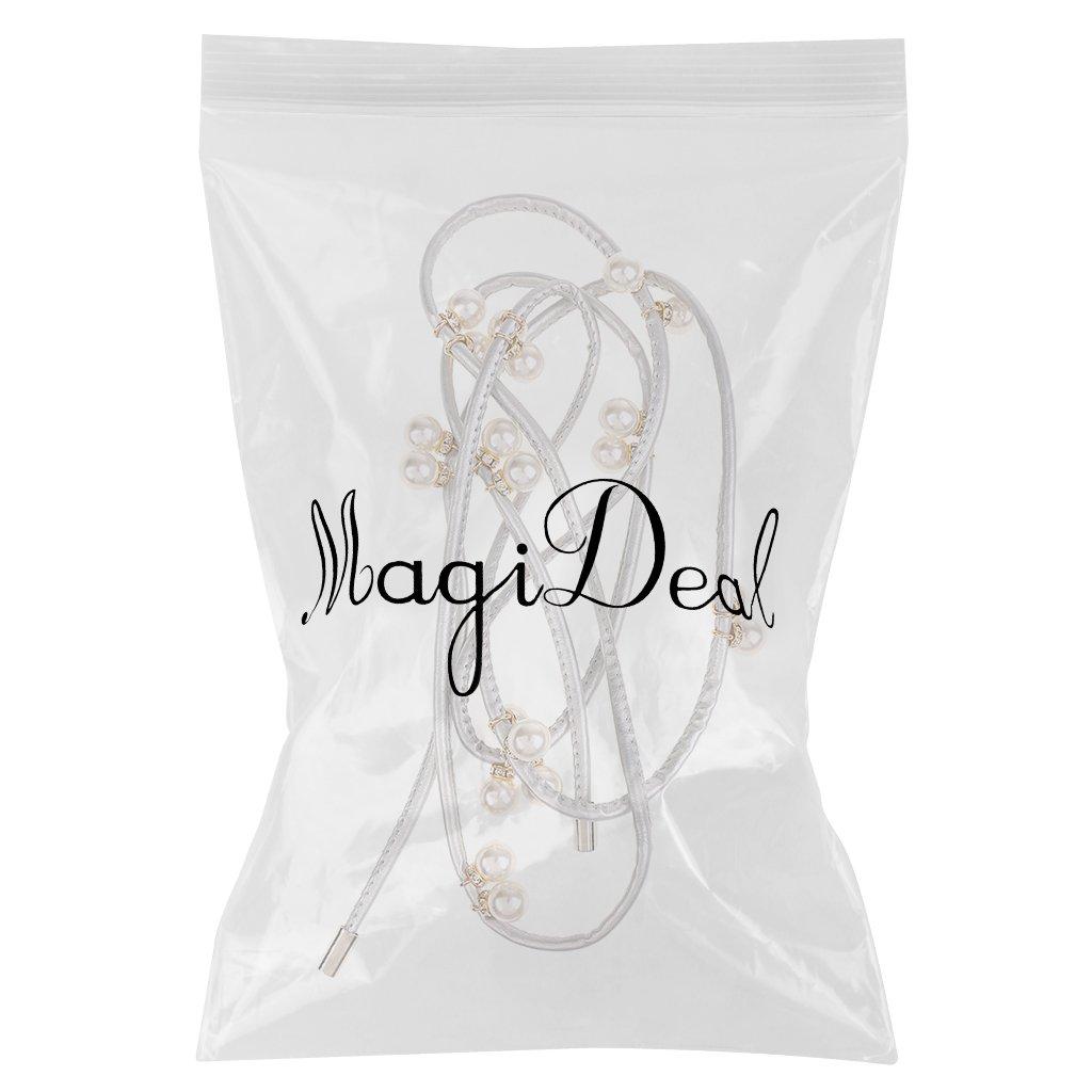 4025f05b8c05 MagiDeal Ceinture Femme Perle Ceinture Fine Femme en Cuir PU Accessoire  Mode Femme - argent, 170cm  Amazon.fr  Vêtements et accessoires