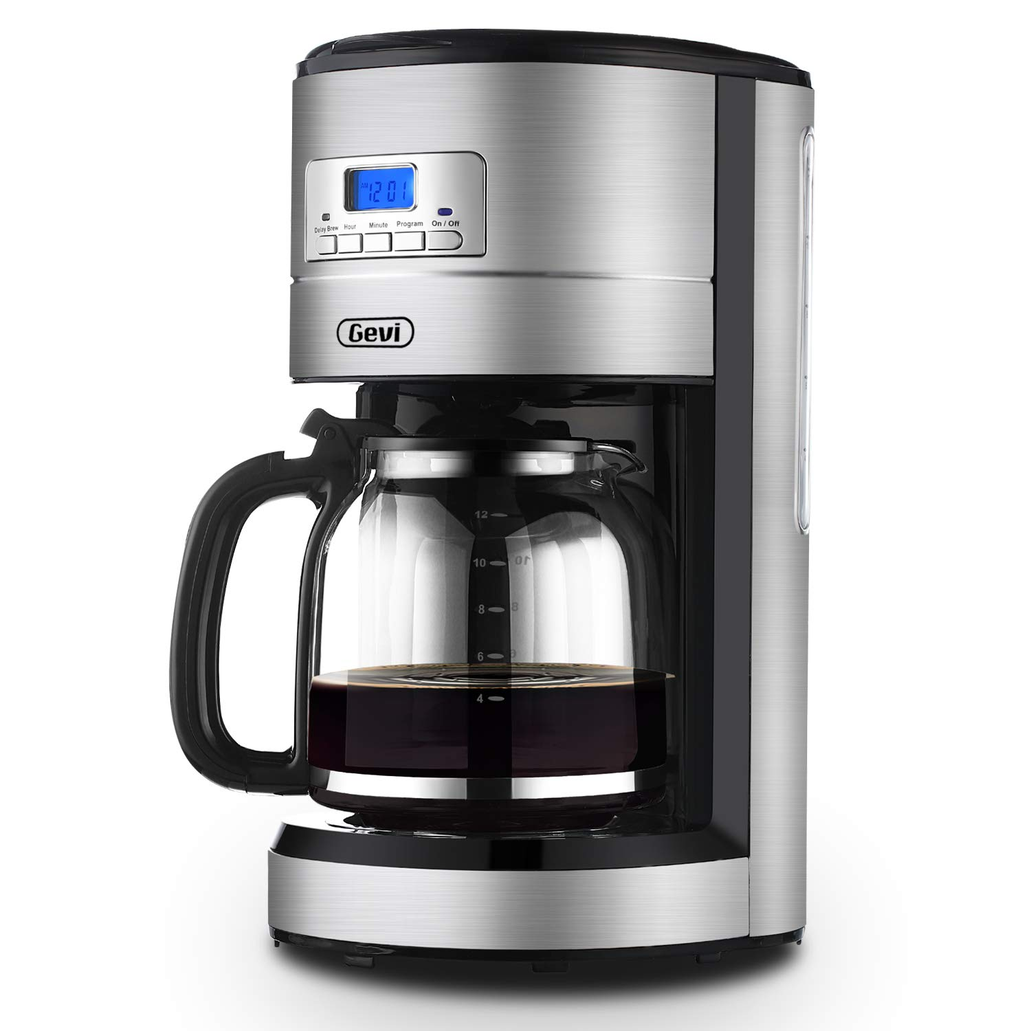 Coffee Maker GEVI 12 Cup Coffee Machine Stainless Programmable Setting Silent Operation Drip Coffeemaker with Coffee Pot and Filter for Home and Office (Stainless Steel)