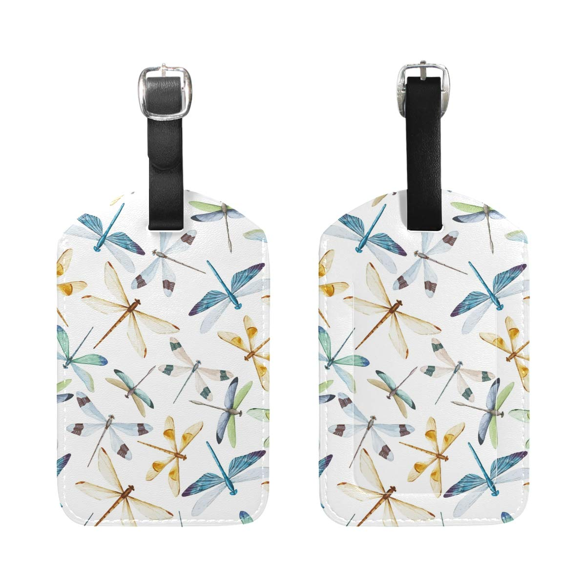 Dragonfly Pattern Handbag Tag For Travel Bag Suitcase Accessories 2 Pack Luggage Tags