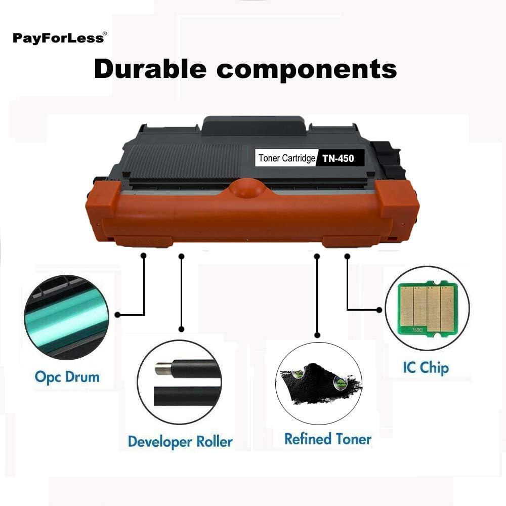 TN 450 TN 420 PayForLess Compatible TN450 TN-450 TN420 TN-420 Toner Cartridge 2PK for Brother HL-2270DW HL-2240 HL-2240d HL-2270 HL-2275dw HL-2280dw MFC-7360n MFC-7460dn MFC-7860dw DCP-7065dn