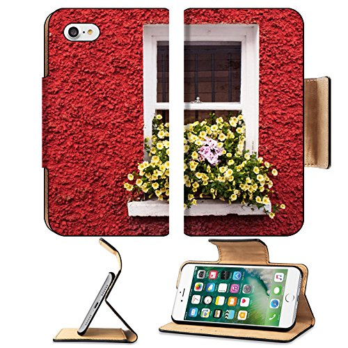 (MSD Premium Apple iPhone 7 Flip Pu Leather Wallet Case Yellow flowers on cottage window with red wall IMAGE 21173151 )