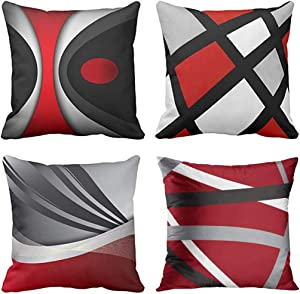 Emvency Set of 4 Throw Pillow Covers Modern Abstract Red Stripes Gray Black White Acrylic Bold Grey Decorative Pillow Cases Home Decor Square 18x18 Inches Pillowcases