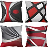 Emvency Set of 4 Throw Pillow Covers Modern Abstract Red Stripes Gray Black White Acrylic Bold Grey Decorative Pillow Cases H