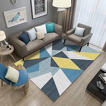 Mengjie Tapis Salon Jaune Bleu Coloré Coloré Triangle De ...