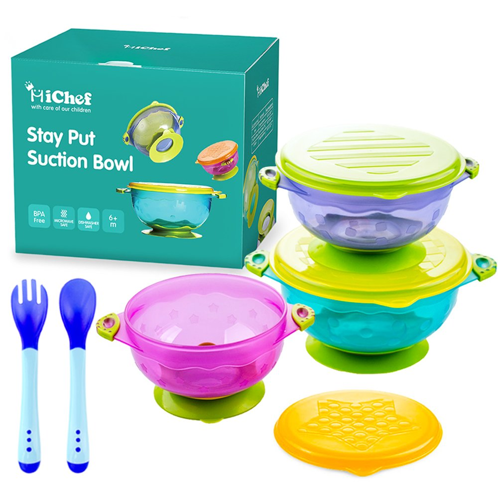 MICHEF Stay Put Suction Bowl, Spill Proof, Baby Bowls with Snap Tight Lids, Baby Gift Set of 3 Count, and 2 Hot Safe Spoon and Fork, Perfect for Babies & Toddlers BPA & BPS Free FDA Approved Bowls092503