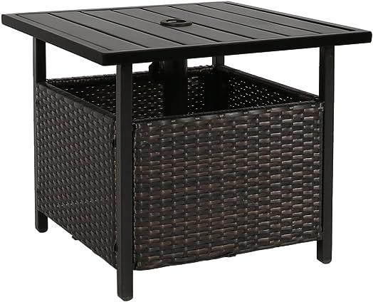 Iwicker Patio PE Wicker Umbrella Side Table Stand