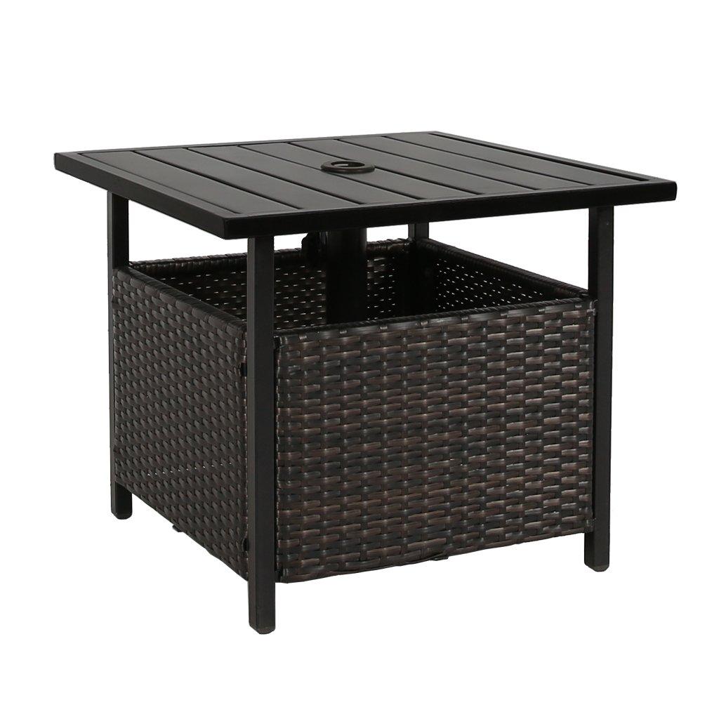 Amazon Com Iwicker Patio Pe Wicker Umbrella Side Table Stand