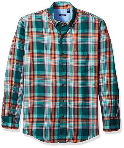 Bugs Long Sleeve Shirt (IZOD Men's Long Sleeve Twill easycare Plaid Shirt, June Bug, X-Large)