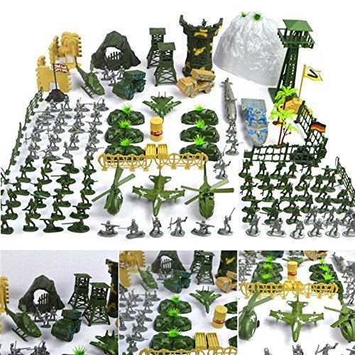 New Arrival 150 pcs/set Military Plastic Toy Soldier Army Men Figures & Accessories Playset Kit Gift Model Toy For Kids Boys (Minecraft War With Guns And Planes And Tanks)