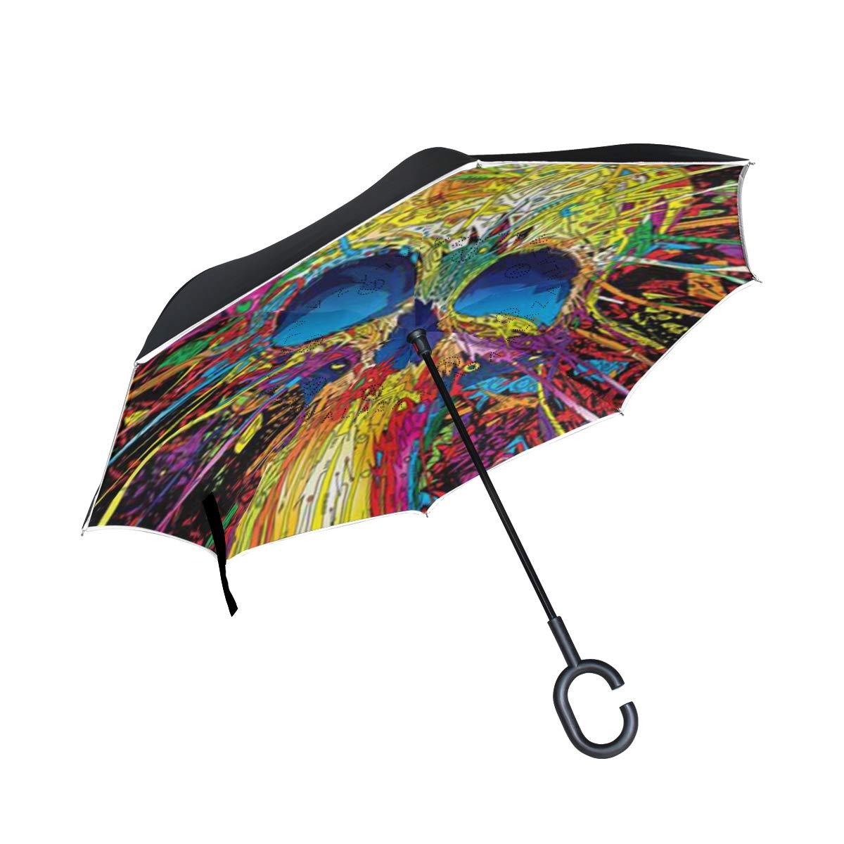 All agree 逆傘 カラフル スカル 逆さ傘 リバーシブル ゴルフ 車 旅行 雨 アウトドア ブラック One Size カラー2 B07HT6RWZ5
