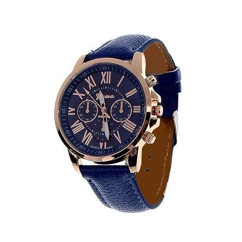 Fortan 2016 Frauen Kunstleder analoge Quarz-Armbanduhr-Dunkelblau