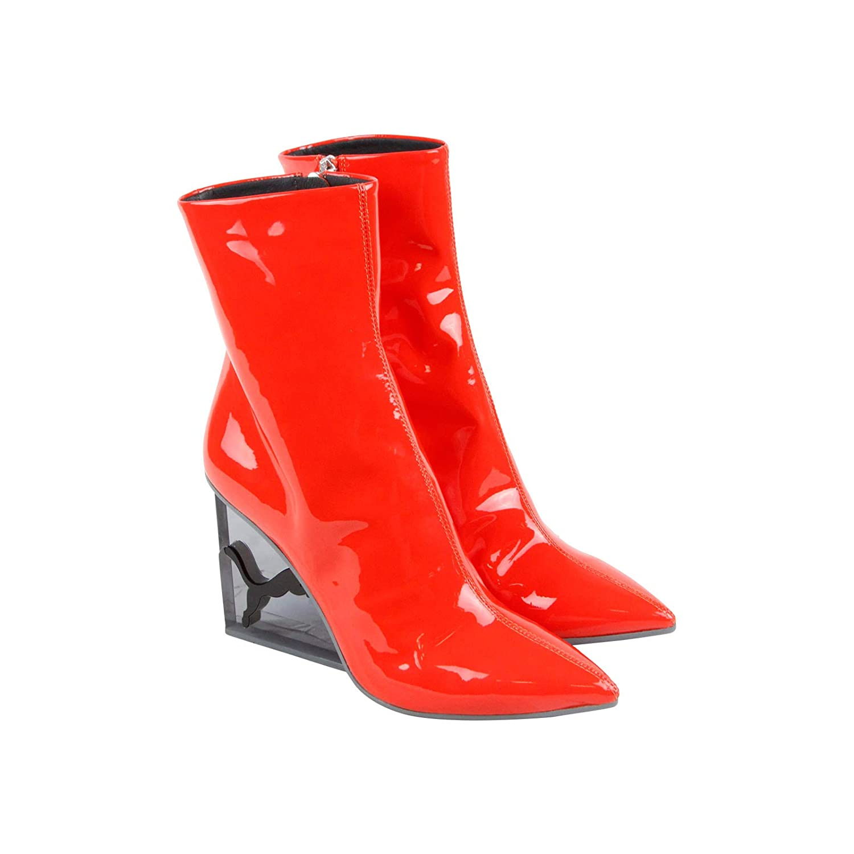 e285a84e55 PUMA Womens x Fenty Rihanna Cat Patent Leather Wedge Boot Flame Black 5.5 B  US
