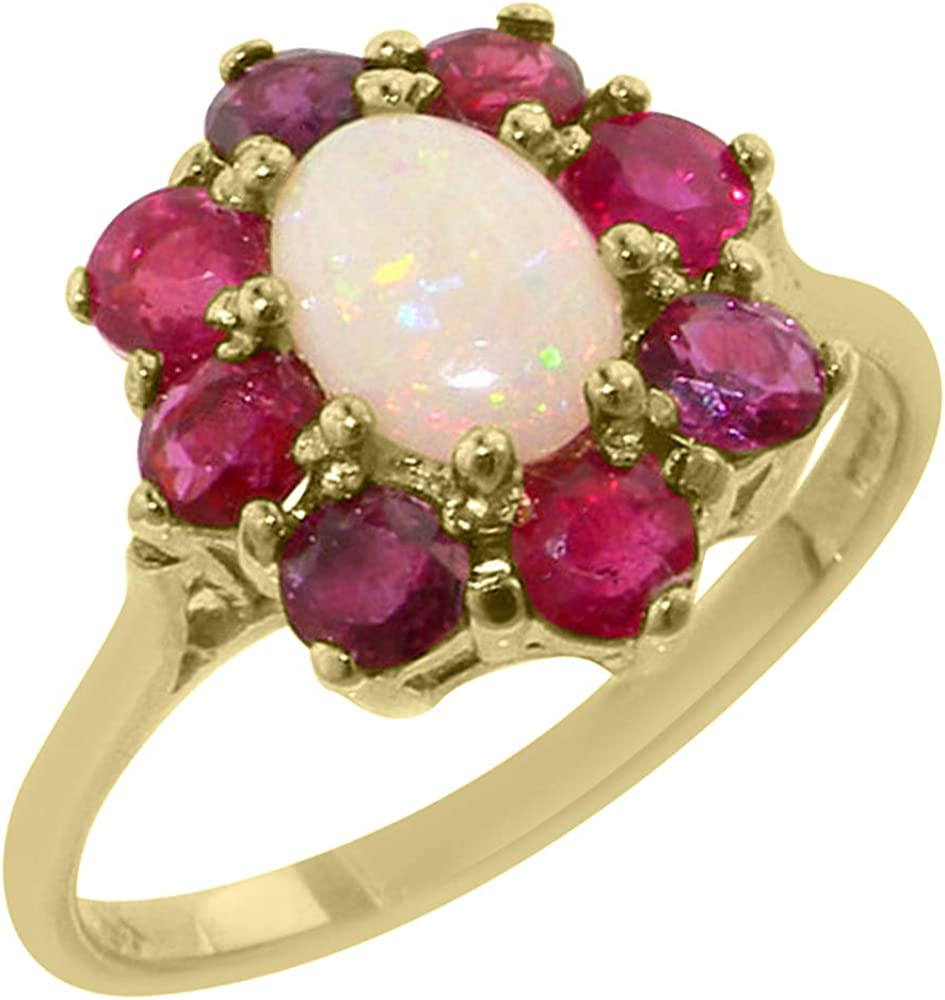 LetsBuyGold 14k Yellow Gold Real Genuine Opal and Ruby Womens Band Ring