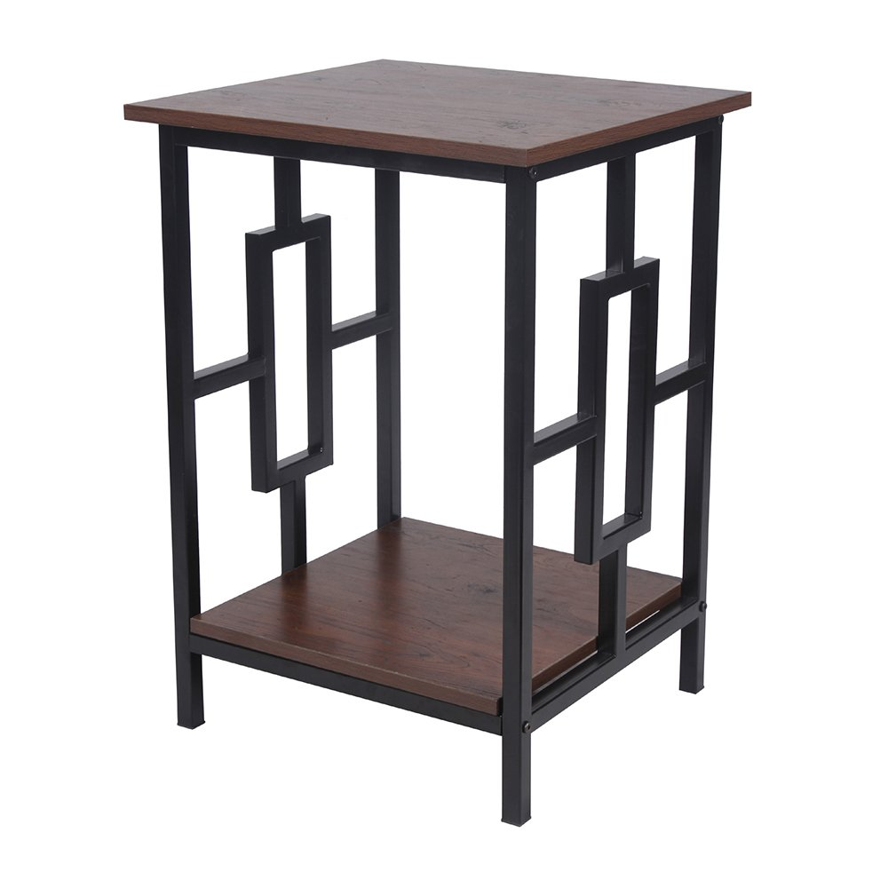 GIA Side End Table - Antique Wooden Color - Black Frame - Sofa Height - Easy Assemble - Heat Resistance Wooden Top and Bottom