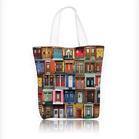 Review canvas tote bag collage of and doors from montreal canada reusable canvas bag bulk for grocery,shopping W16.5xH14xD7 INCH