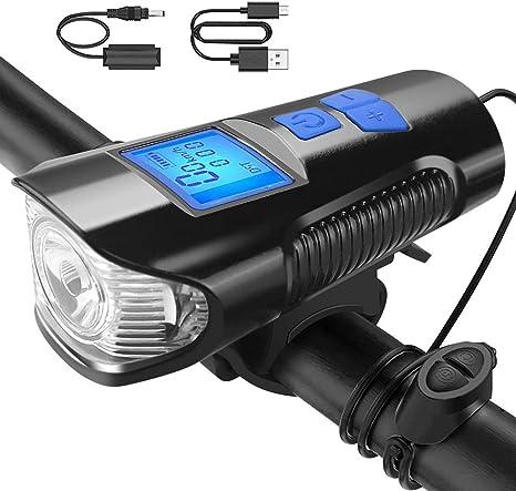 Luz Bicicleta Recargable USB, Faro Impermeable para LED Bicicleta con Velocímetro Multifunción y Bocina, con 2400 Lúmenes 4 Modos, Luz LED Bicicleta para Carretera y Montaña-Seguridad para la Noche: Amazon.es: Deportes y