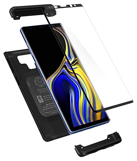 online store 9bf5d fe8c7 Spigen Thin Fit 360 Designed for Galaxy Note 9 Case (2018) Tempered Glass  Screen Protectors Included - Black