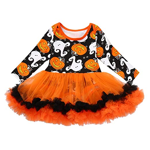 24941c928ba Amazon.com  Infant Baby Girls Halloween Pumpkin Print Romper Tutu Dress  Headband Outfit Set  Clothing