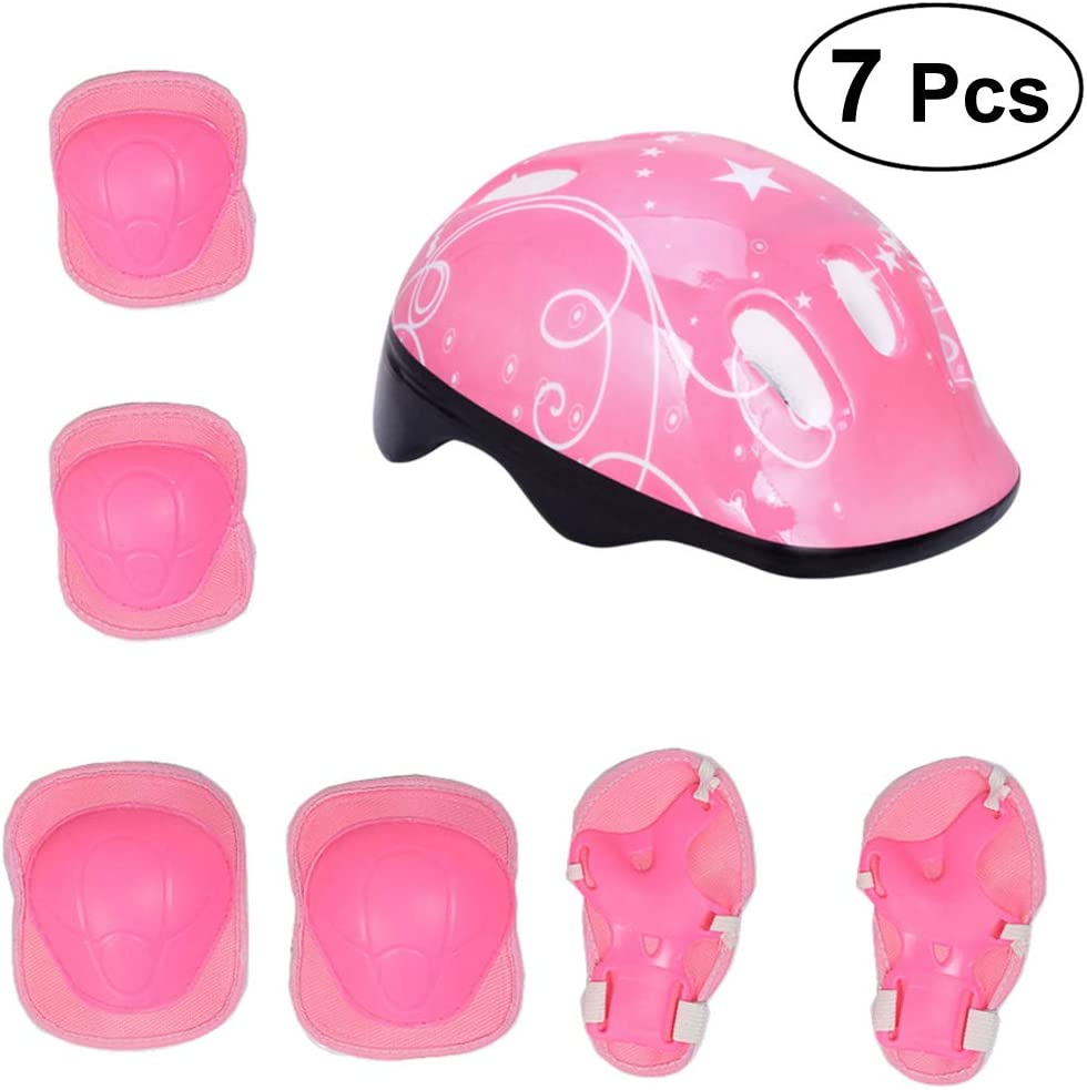 VORCOOL Kids' Protective Gear Bicycle Helmet with Elbow Wrist Knee Pads Children Bike Accessories (Pink)