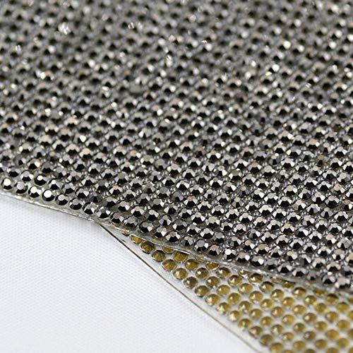 Strass Jet - Green Glass Rhinestone Beads Trim Iron On Bridal Applique Strass Crystal Banding Diamond Mesh Roll for Wedding Dress Crafts (Ss6(1.9-2.0mm) Stones,Jet Hematite)