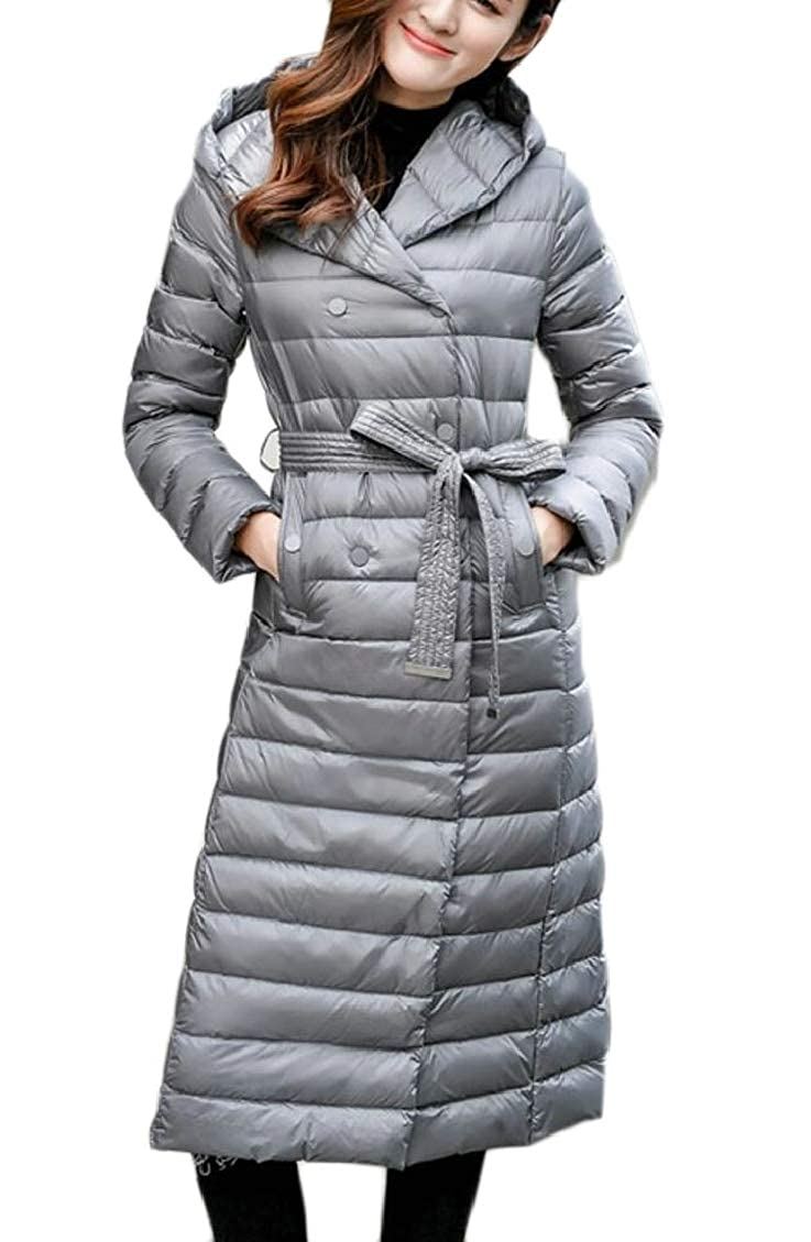 Hokny TD Womens Fashion Lightweight Hooded Long Down Puffer Jacket Coat with Belt