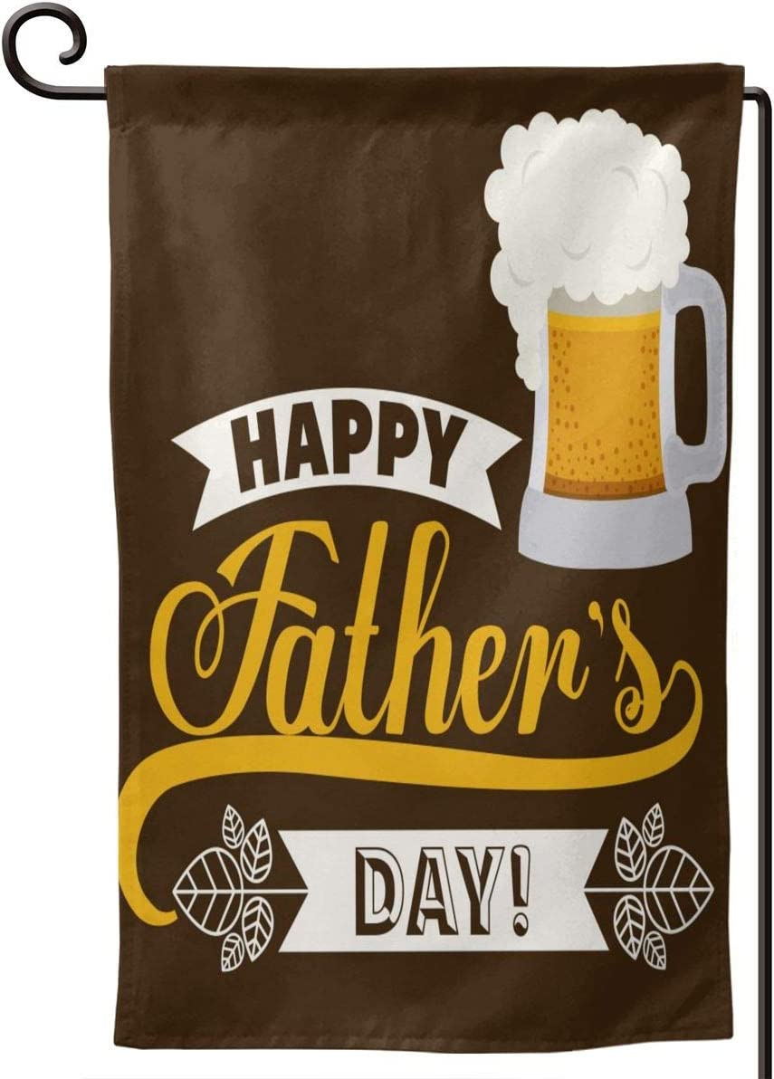 FeHuew Happy Fathers Day Beer Garden Flag Double Sided 12.5 X 18 Inch Vertical Decorative Welcome Banner for Outdoor Yard