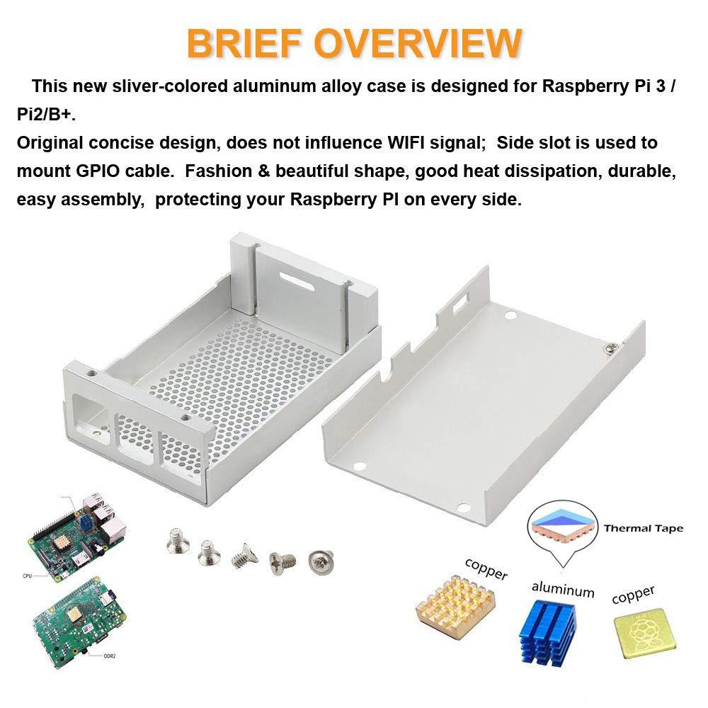 Ceetech Raspberry Pi 3 Case Aluminum Silver Metal Case Enclosure Kit for  RPI 3 Model B Compatible with Raspberry Pi 2 Model B B+