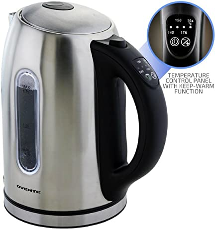 flash sale ovente 17 liter bpafree stainless steel electric kettle cordless with temperature
