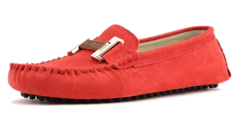 Minitoo mujer de Ronda Toe Elegante metal Suede Loafers Flats zapatos de conducción, color Naranja, talla 39