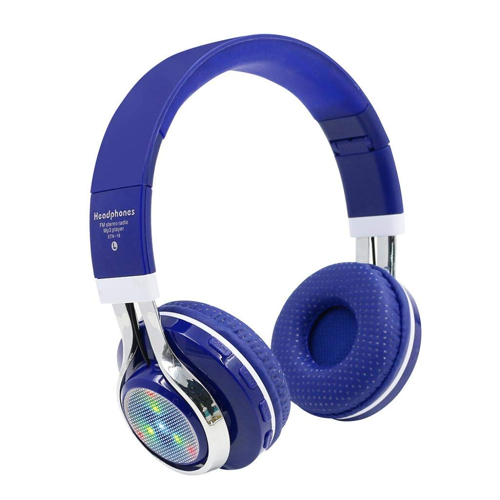 Sonmer STN-18 Wireless Bluetooth 4.1 Noise Cancelling Stereo Foldable Over Ear Headphone,for Iphone Android Smartphone Tablet PC,With Microphone FM Function (Blue)