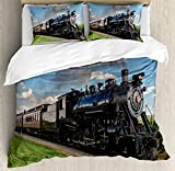Steam Engine Duvet Cover Set by Ambesonne, Vintage Locomotive in Countryside Scenery Green Grass Puff Train Picture, 3 Piece Bedding Set with Pillow Shams, Queen / Full, Blue Green Black