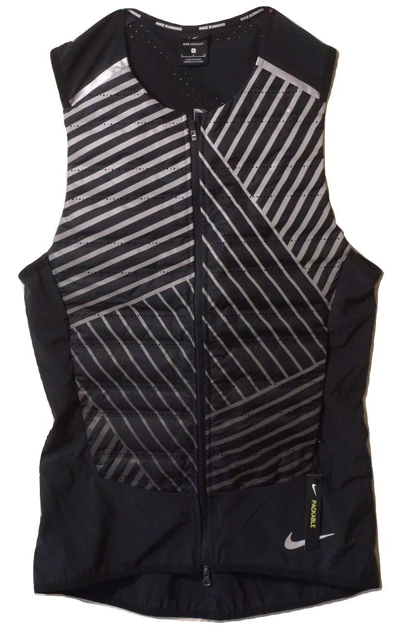 Nike Men's Aeroloft Flash Black Full-Zip Sleeveless Running Vest (Small)