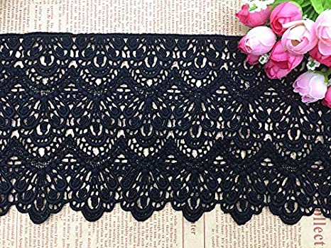 White 14CM Width Europe Long Pattern Inelastic Embroidery Lace Trim,Curtain Tablecloth Slipcover Bridal DIY Clothing//Accessories. 4 Yards in one Package