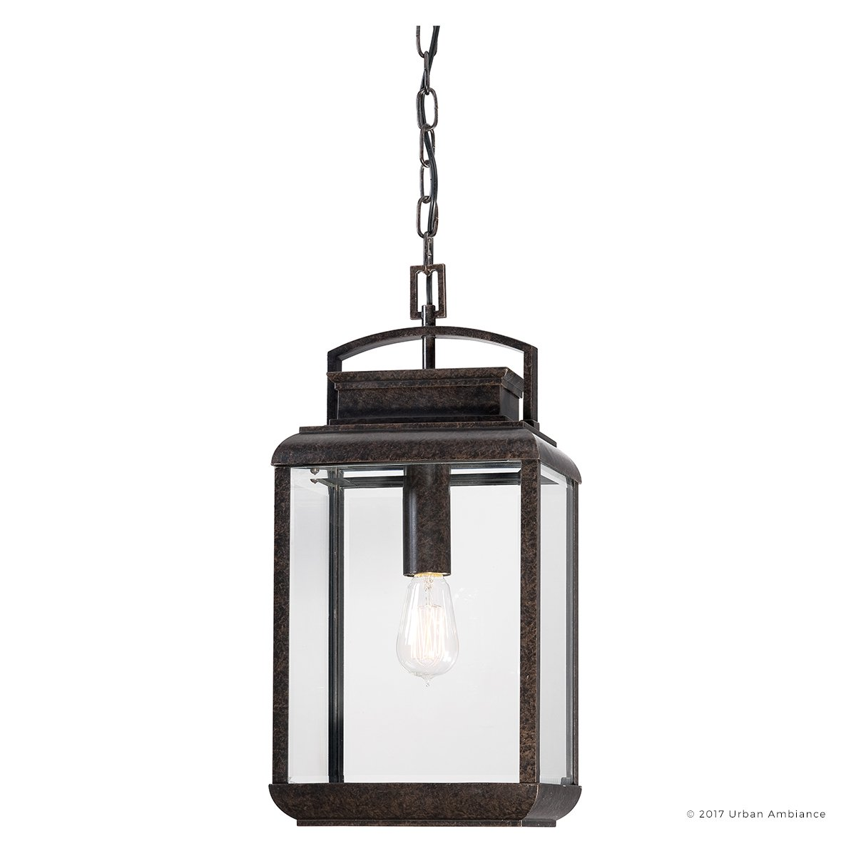 Luxury Craftsman Outdoor Pendant Light, Large Size: 21''H x 10''W, with Arts and Crafts Style Elements, Beautiful Royal Bronze Finish and Beveled Glass, Includes Edison Bulb, UQL1025 by Urban Ambiance