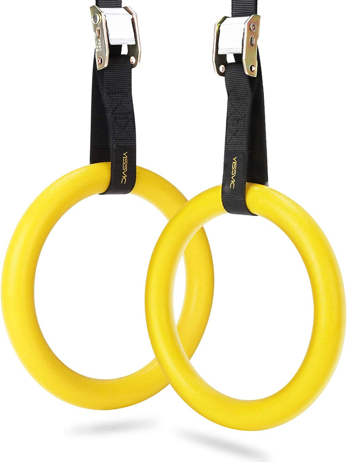 Gym Rings,ABS Gymnastic Rings with 2pcs Tough Polypropylene Straps Gym Fitness Training Exercise Tool for Body Weight Workouts