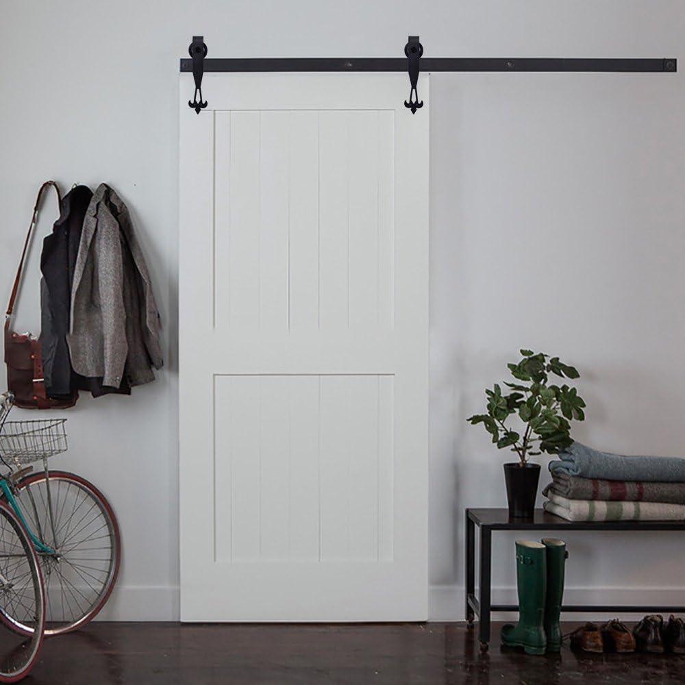 Hahaemall moderna nueva DIY herramientas acero ala rueda Roller puerta corrediza de granero Hardware pista Kit colgante único de madera puerta armario sistema: Amazon ...