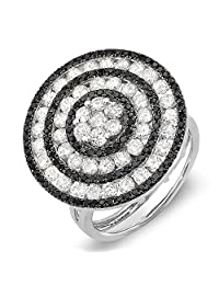 2.60 Carat (ctw) 14k White Gold Black & White Round Diamond Ladies Cocktail Ring