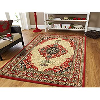 Amazoncom Large Persian Rugs for Living Room 8x11 Red Green