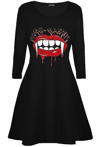 BE Jealous Donna Costume Halloween Fang-tastic SANGUINOSO VAMPIRO BOCCA Donna Swing MINI ABITO UK più dimensioni 8-26 – Nero, M/L (UK 12/14)