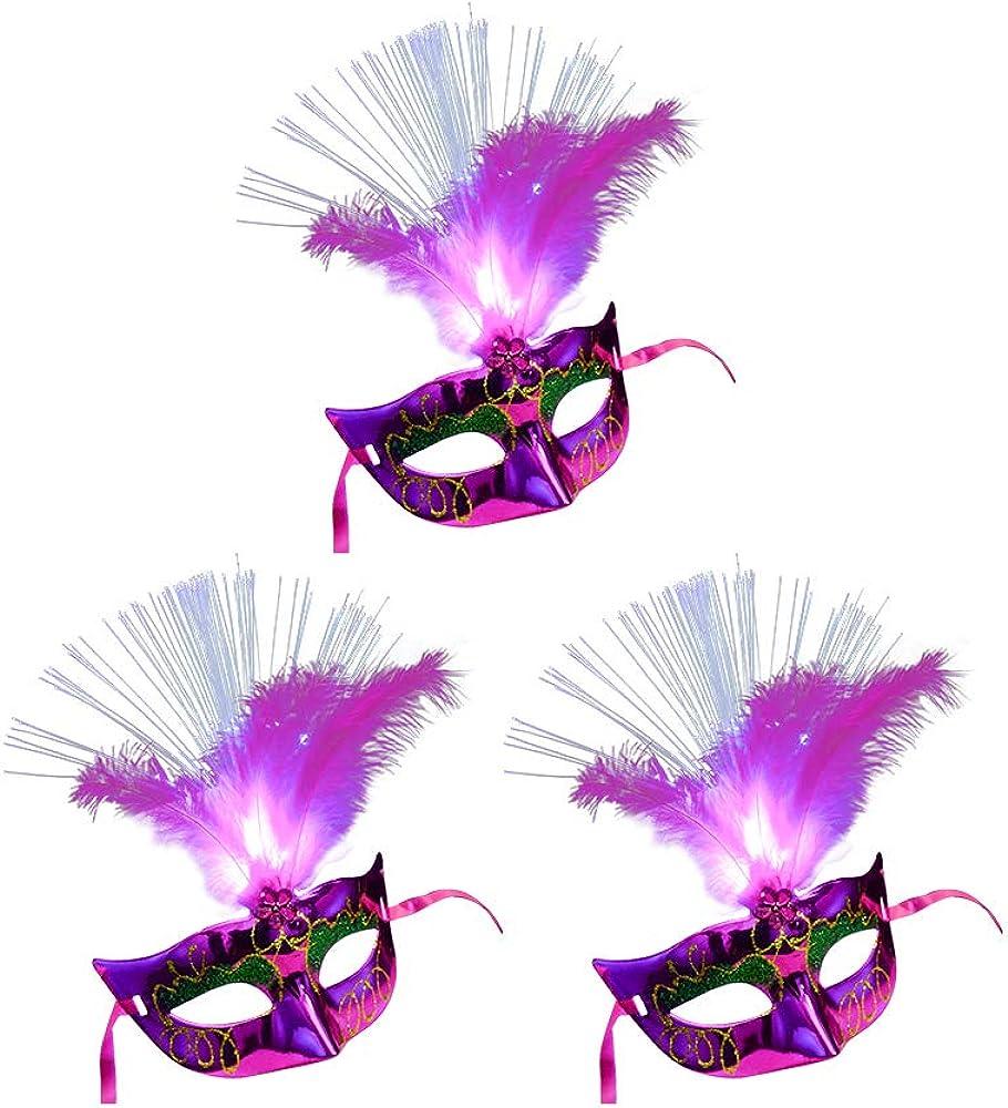 AZXAZ Máscara veneciana con luces LED, 3 unidades, para disfraz ...